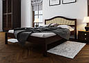 Ліжко півтораспальне з натурального дерева в спальню, дитячу м'яке узголів'я (Вільха) 140х200 Італія М ДОК, фото 2