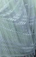 Тюль мягкий фатин с вышивкой люрексом, фото 1