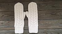 Вязаные варежки рукавички белый цвет,зимние варежки,шерстяные варежки,женские варежки узор косы,модные варежки