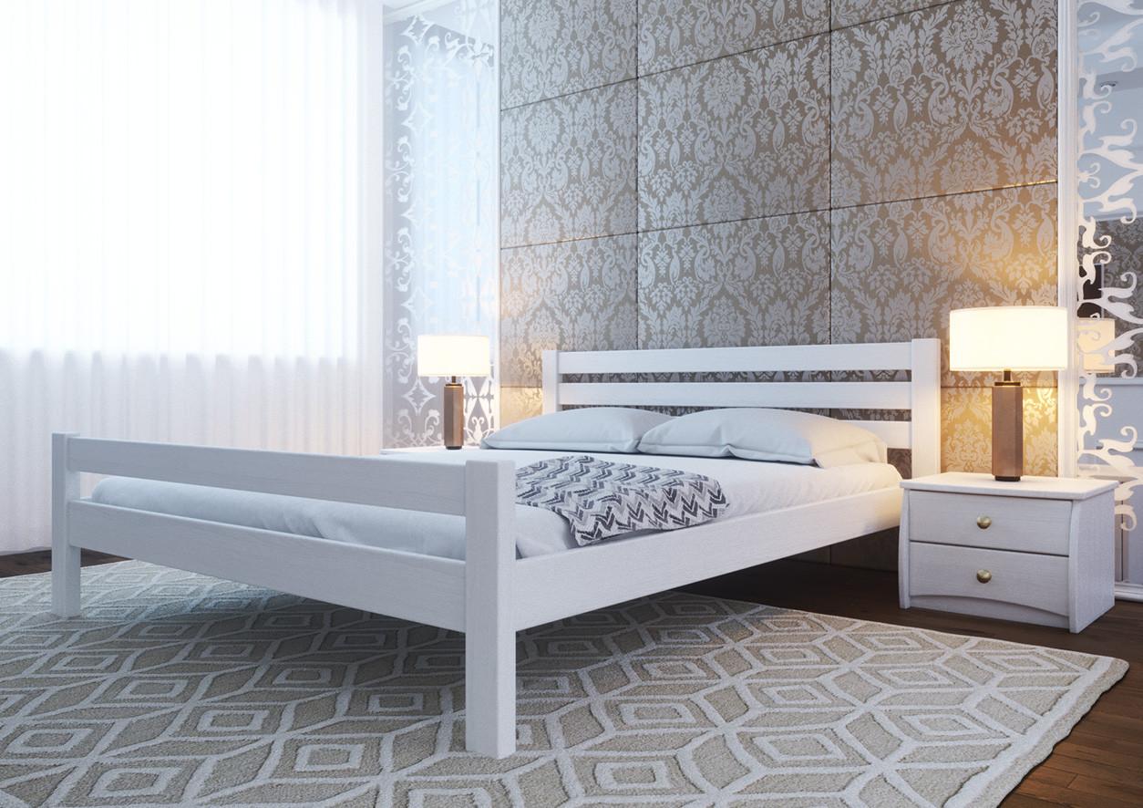 Ліжко півтораспальне з натурального дерева в спальню, дитячу 140х200 Елегант ДОК