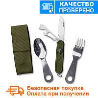 Набор: ложка, вилка, нож Mil-Tec олива / не складной с чехлом  (14629000)