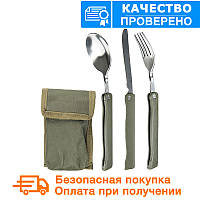 Набор: ложка, вилка, нож Mil-Tec олива / складной с чехлом  (14626000), фото 1