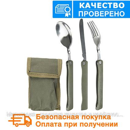 Набор: ложка, вилка, нож Mil-Tec олива / складной с чехлом  (14626000), фото 2