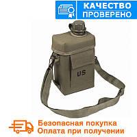 """Армійська фляга з чохлом і ременем """"Patrol"""" USA Mil-tec (2 L) Olive (14514001)"""