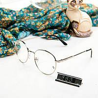 Брендовые женские очки Ray Ban круглые прозрачные в серебрянной оправе