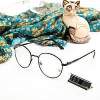 Брендовые женские очки Ray Ban круглые прозрачные в черной оправе