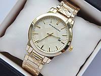 Кварцевые наручные часы Burberry золото, с датой, на металлическом браслете, фото 1