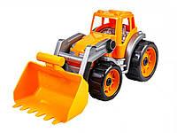 Игрушечные машинки и техника «ТехноК» (1721) Транспортная игрушка Трактор (с оранжевым ковшом), 38 см