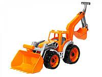 Игрушечные машинки и техника «ТехноК» (3671) Трактор с оранжевым ковшом, 50 мс