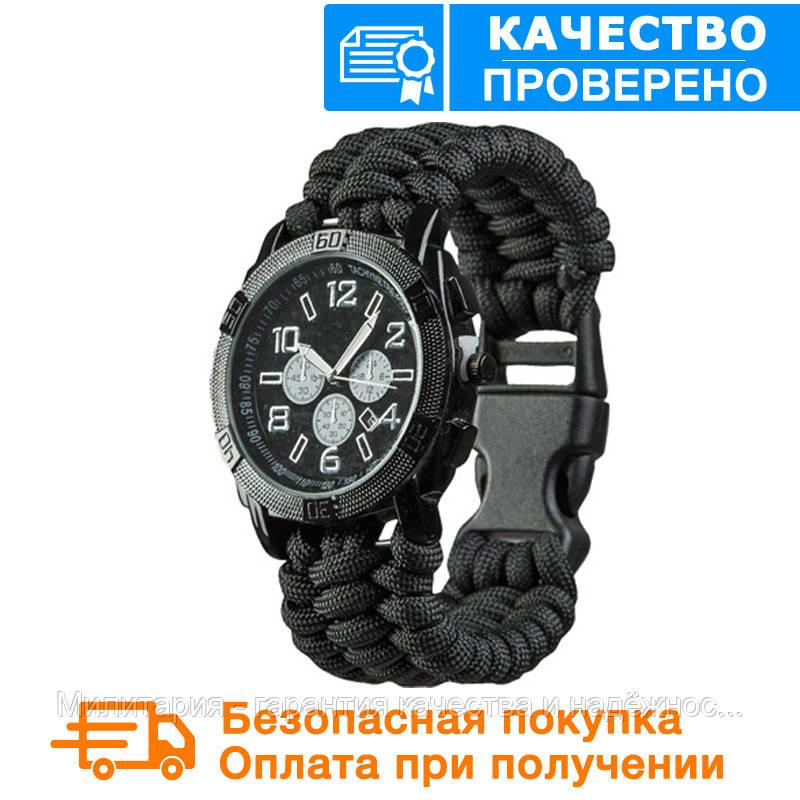 Часы водонепроницаемые армейские MIL-TEC ARMY UHR PARACORD Black (15774002) размеры :  M L XL