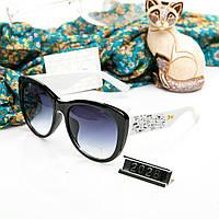 Брендовые женские очки копия Диор реплика с камнями черные с белыми дужками