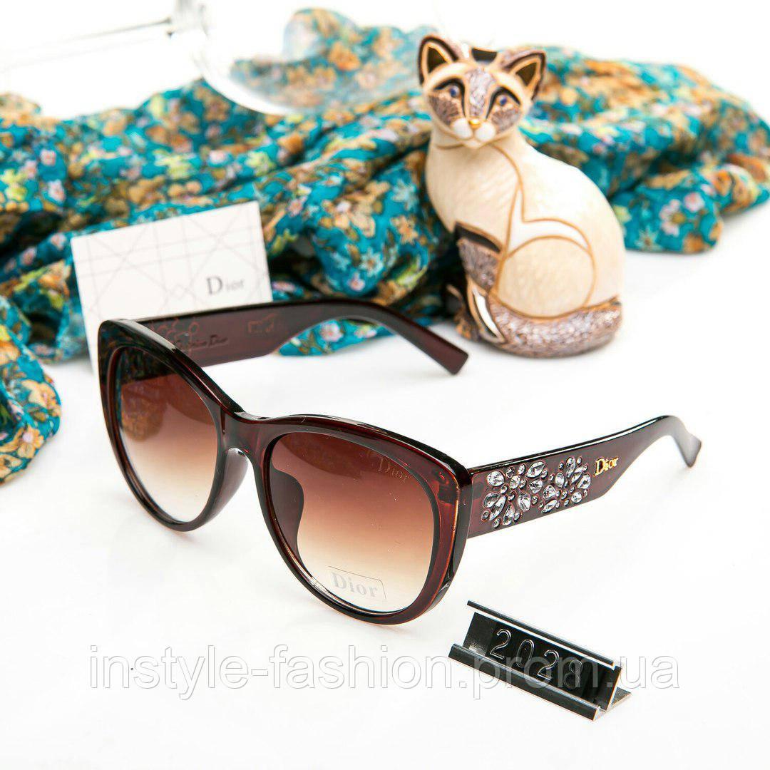 Брендовые женские очки копия Диор реплика с камнями коричневые