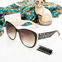 Брендовые женские очки копия Диор с камнями коричневые с бежевым