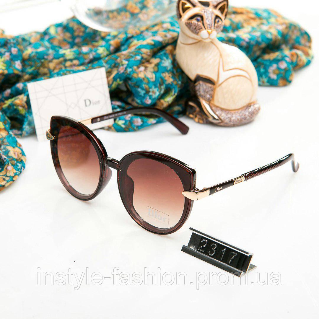 Брендовые женские очки копия Диор реплика круглые коричневые