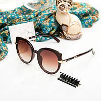 Брендовые женские очки копия Диор реплика круглые коричневые, фото 1