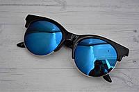 Солнцезащитные очки клабмастер круглые синие зеркальные