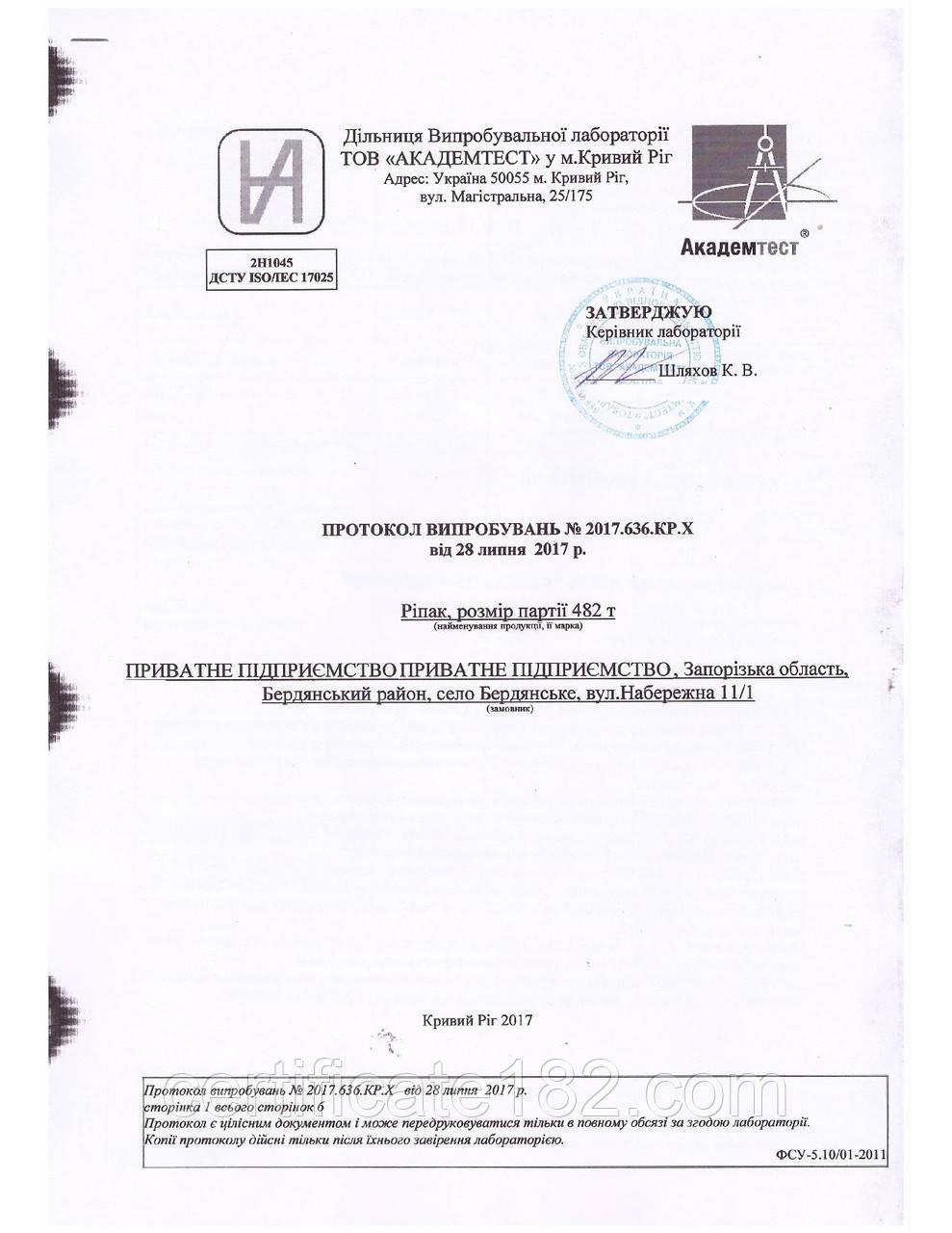 Протокол испытаний на соответствие ТУ У, ДСТУ, СОУ