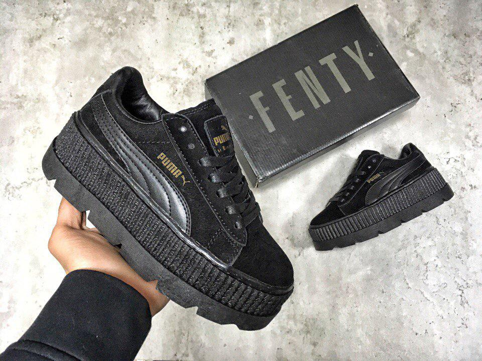 the best attitude 8220c 6546f Женские кроссовки Puma x Rihanna Fenty Cleated Creeper Suede Black, Копия