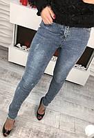 Женские стильные джинсы  с молнией сзади   цвет Голубой  ХИТ - СЕЗОНА