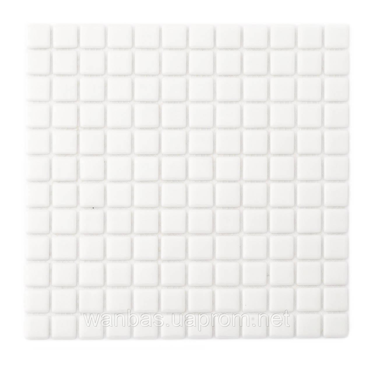 Снежно-белая стеклянная мозаика   Super White MK25105 25х25 мм.