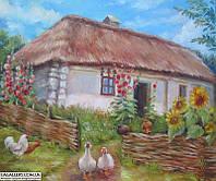 Сельский пейзаж. Картина маслом на холсте.