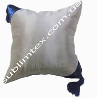 Подушка атласная,искусственная,цветная сторона+цветные уголки+кисточка,размер 35х35см., синий