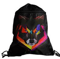 Детская сумка рюкзак для сменной обуви рисунок Волк на шнурках черный с карманом Vombato 7868, фото 1
