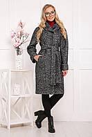 ПАЛЬТО П-304-100 Б серое р 44 шерстяное пальто с капюшоном гм