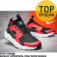 Мужские кроссовки Nike Air Huarache, красные с черным / кроссовки мужские Найк Аир Хуарачи, текстиль, модные
