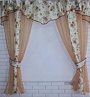 Кухонная занавесь, шторки гардина с подвязками е464