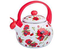 """Чайник емальований з свистком 2,2 літра """"Маки RED HANDLE"""" ZAUBERG"""