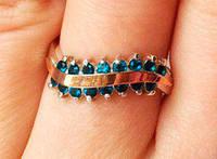 Кольцо серебряное с золотыми накладками Гейл с танзанитом