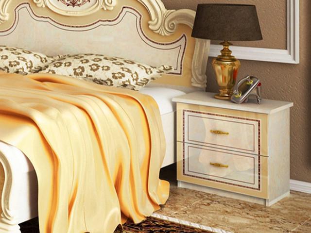 Тумбочка приліжкова з ДСП/МДФ в спальню біла Мартіна 2Ш Миро-Марк