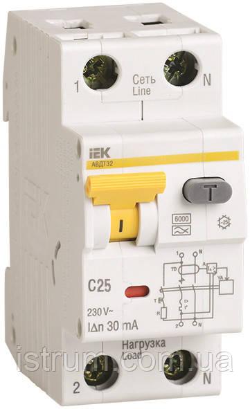 Автоматичний вимикач диференціального струму АВДТ32 C25 30мА ІЕК