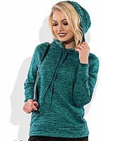Свитшот с капюшоном зеленый меланж СК-506