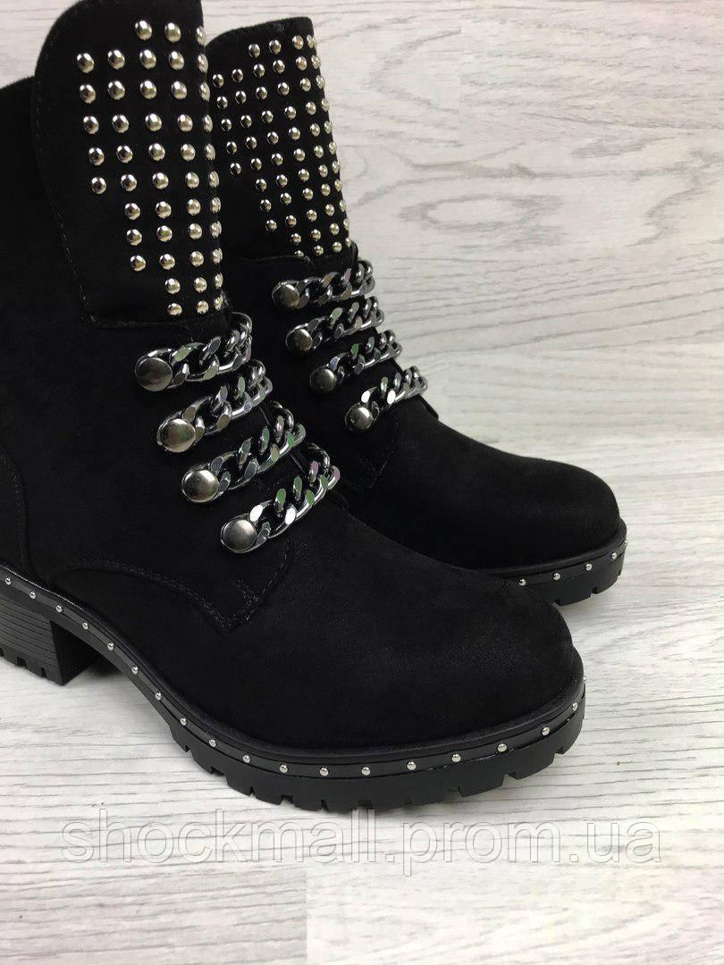 c0fc2d28 Ботинки женские с заклепками черные весенние экозамша - Интернет магазин  ShockMall в Киеве
