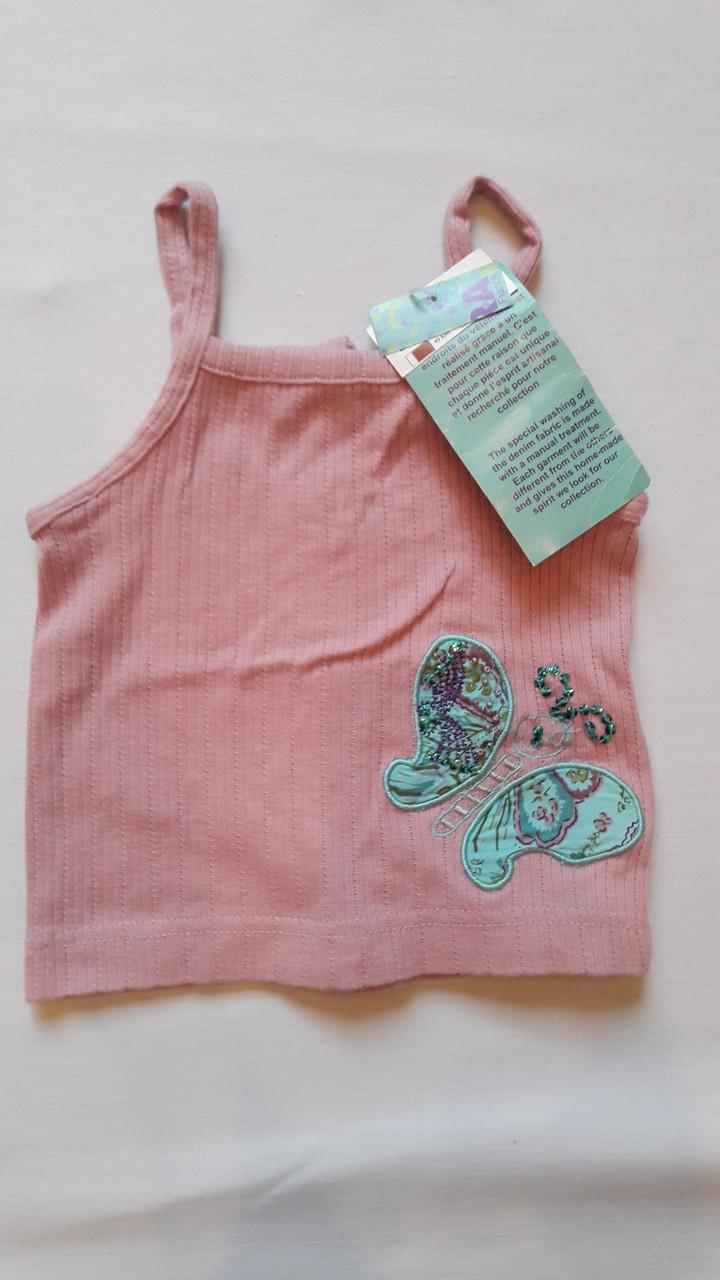 Майка для девочки розовая Бабочка