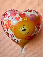 """Фольгированные шары """"Сердечки"""" 16"""" (40 см) """"I love you"""" с мишкой"""