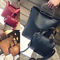 Женский модный комплект сумка + маленькая сумочка  2В1 (расцветки)