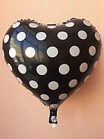 """Фольгированные шары """"Сердечки"""" 16"""" (40 см) черные в белый горошек"""