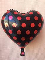 """Фольгированные шары """"Сердечки"""" 16"""" (40 см) черные в красный горошек"""