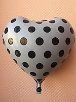 """Фольгированные шары """"Сердечки"""" 16"""" (40 см) серые в черный горошек"""