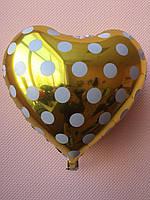 """Фольгированные шары """"Сердечки"""" 16"""" (40 см) золотые в белый горошек"""