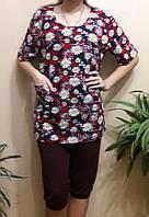 Большая туника домашняя женская с карманами хлопковая трикотажная одежда для дома