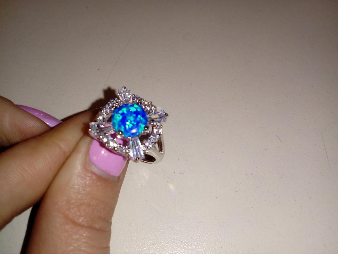 Огненный опал кольцо с опалом в серебре 17-17.5 размер