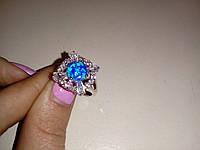 Огненный опал кольцо с опалом в серебре 17-17.5 размер, фото 1