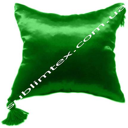 Подушка атласная,натуральная,цветная сторона+цветные уголки+кисточка,размер 35х35см., зеленый, фото 2