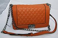 Клатч женский Chanel Le Boy (Шанель Бой), стеганный большой светло-коричневый