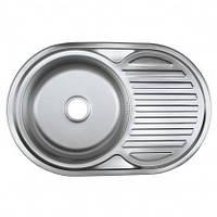 Врезная кухонная мойка Platinum 77*50*18 Micro-Decor 0.8 Кепка, фото 1