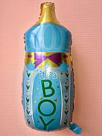 """Фольгированный воздушный шарик Бутылочка с соской """"It`s a boy"""" голубая 80 см х 45 см Balloons"""